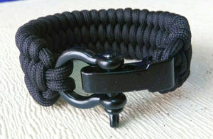 Trilobite Paracord Bracelet with Black Bow Shackle Adjustable Size